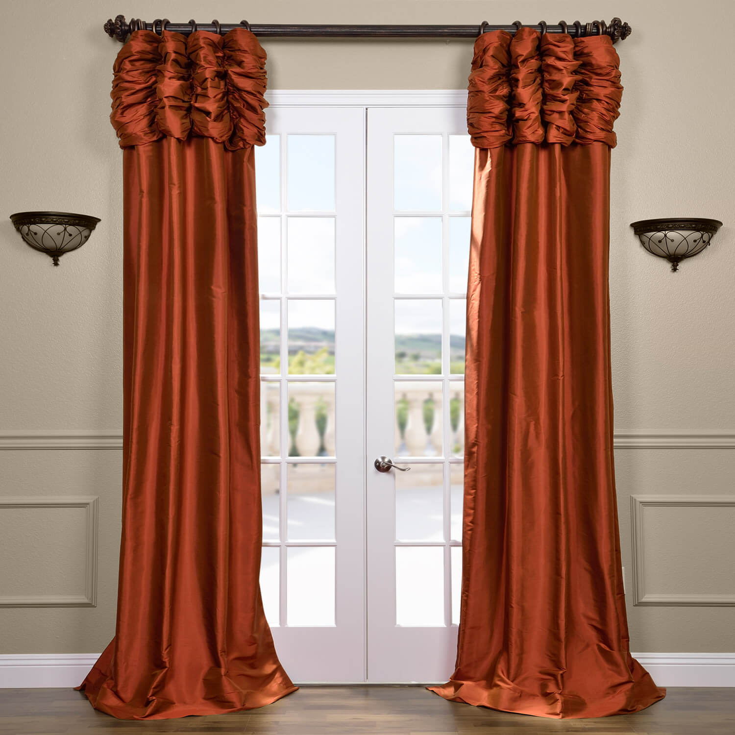 Ruched Cayenne Thai Silk Curtain