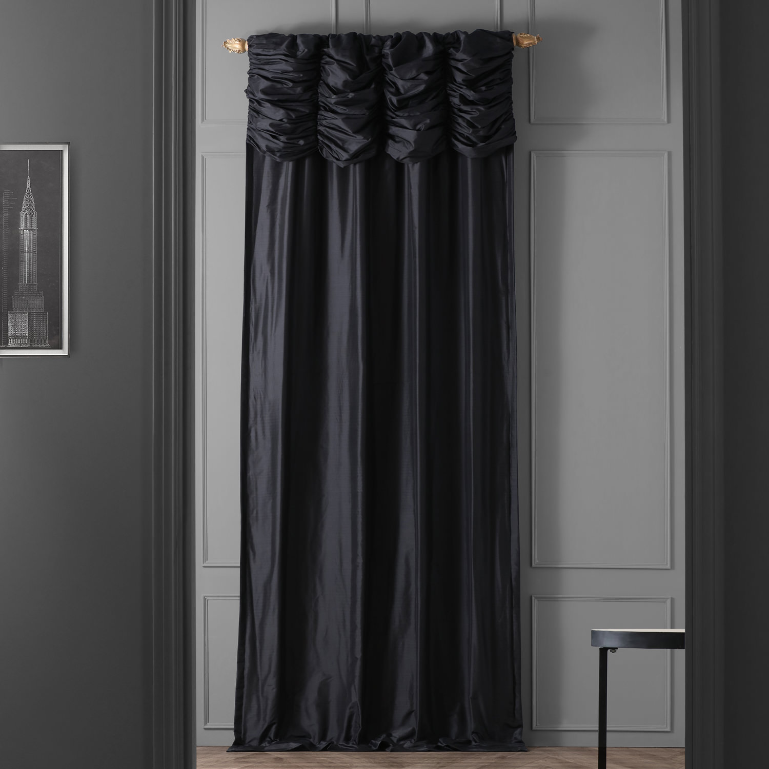 Ruched Midnight Black Thai Silk Curtain