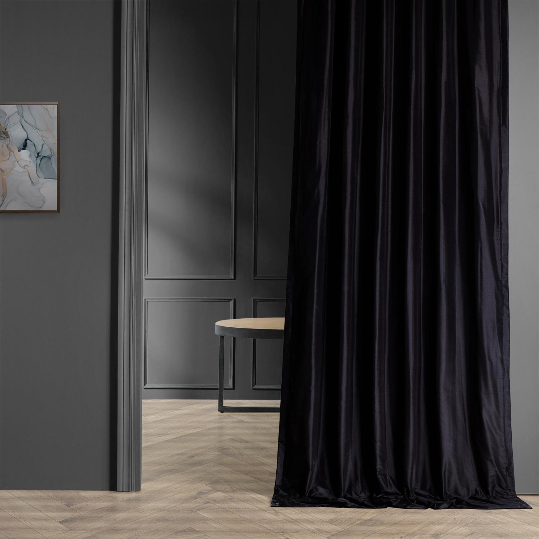 Midnight Black Thai Silk Curtain