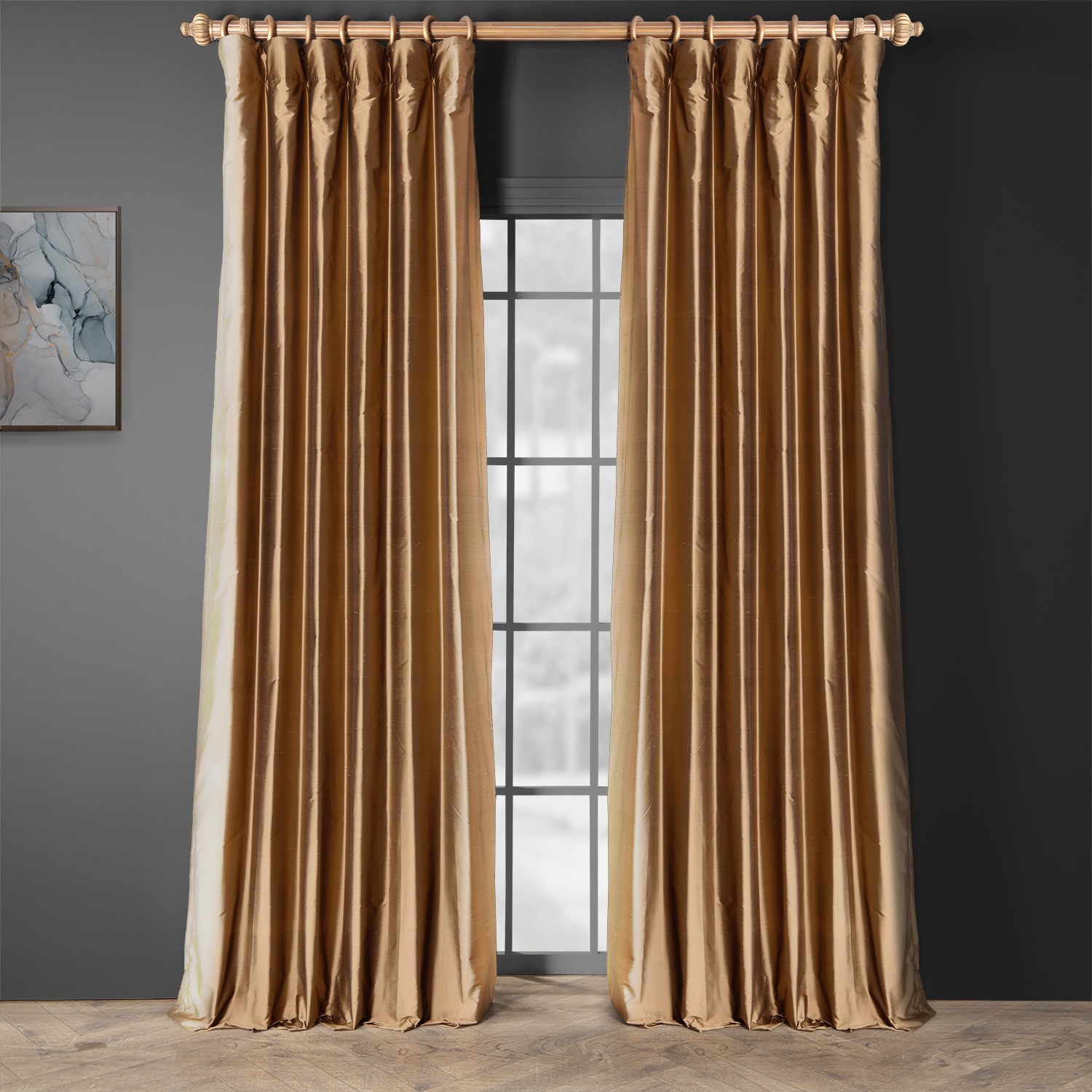 Taupe Gold Thai Silk Curtain