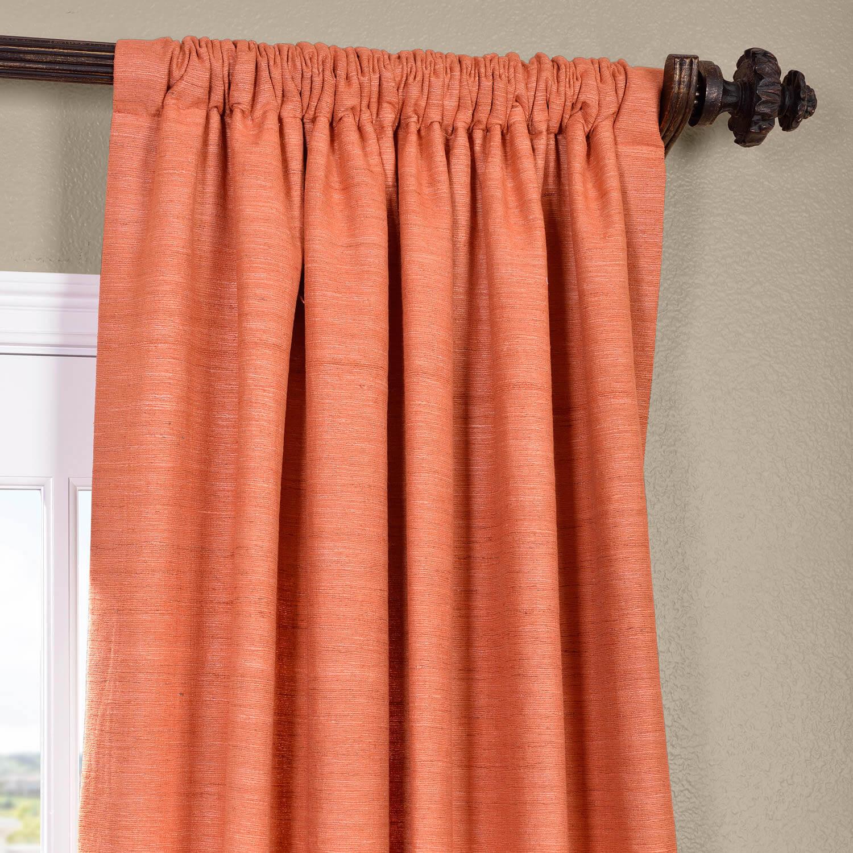 Terracotta Raw Silk Curtain