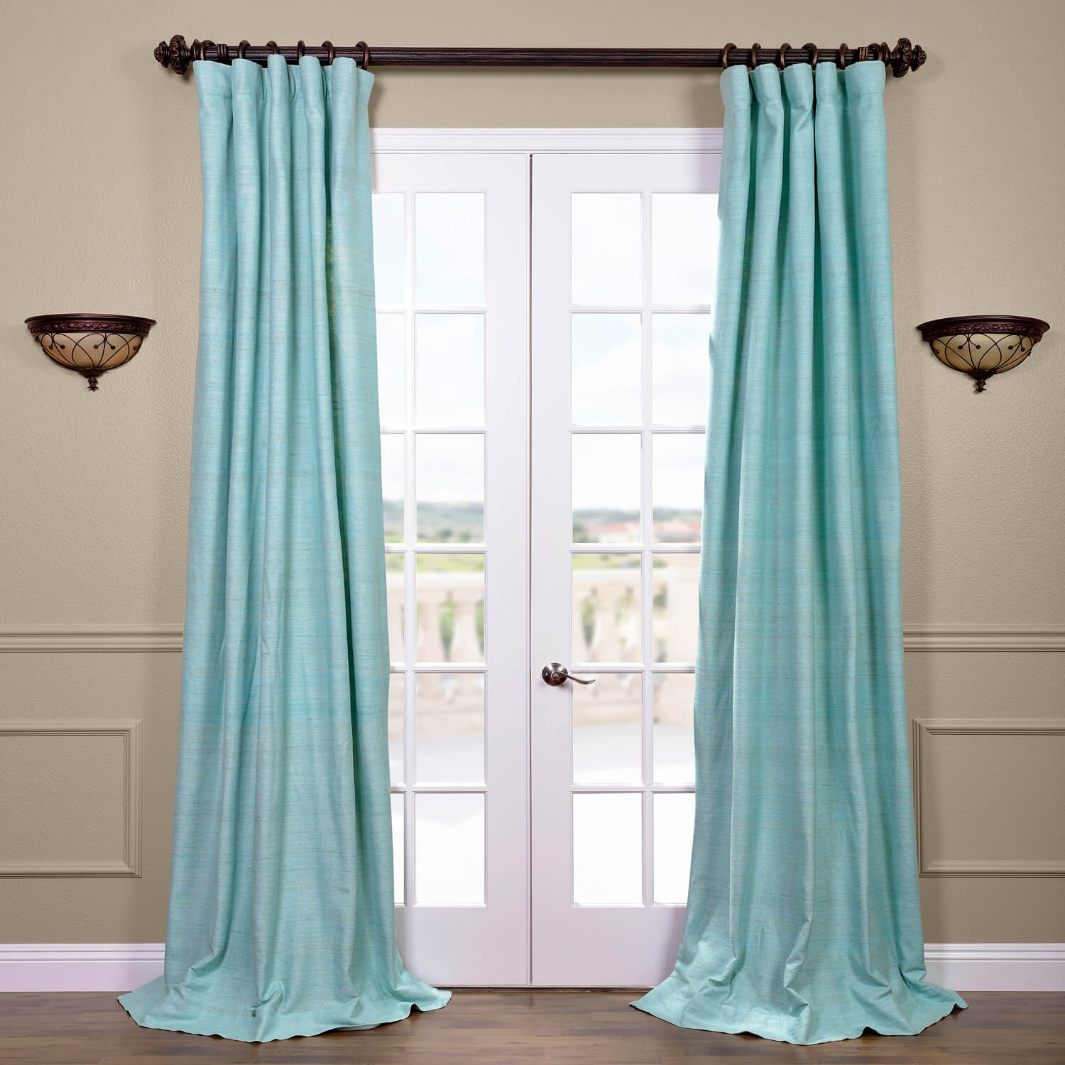 Cabo Mist Raw Silk Curtain