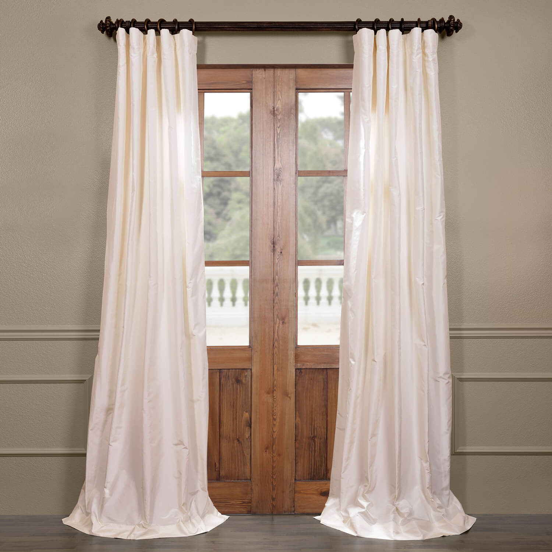 White Satin Silk Taffeta Curtain