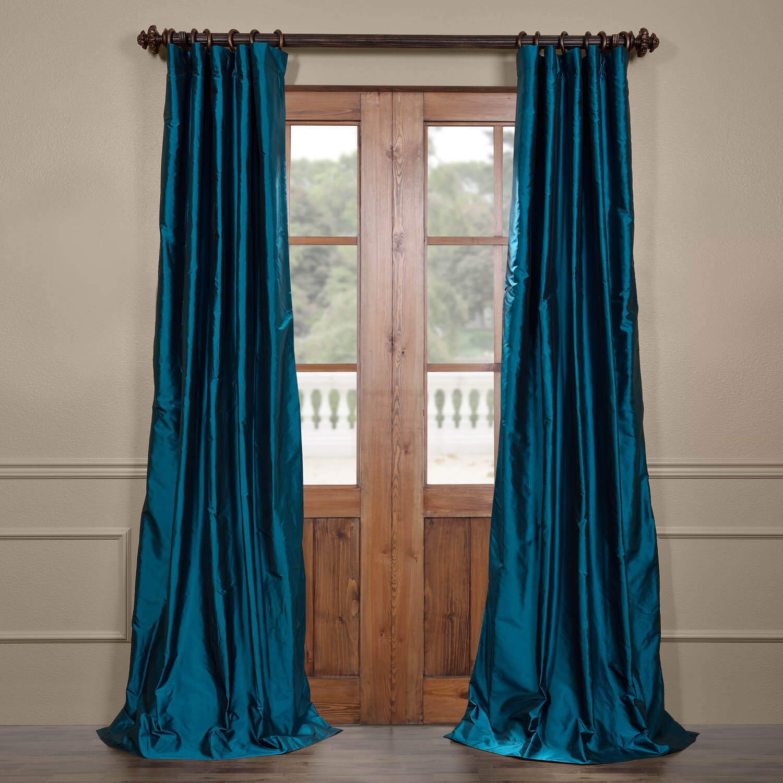 Tahitian Teal Silk Taffeta Curtain