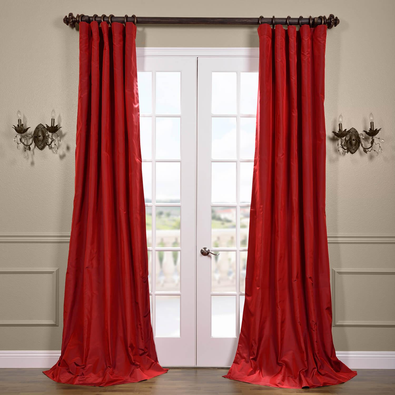 Scarlet Silk Taffeta Curtain
