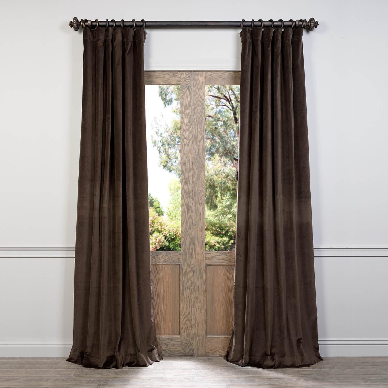 Ash Brown Cotton Velvet Curtain