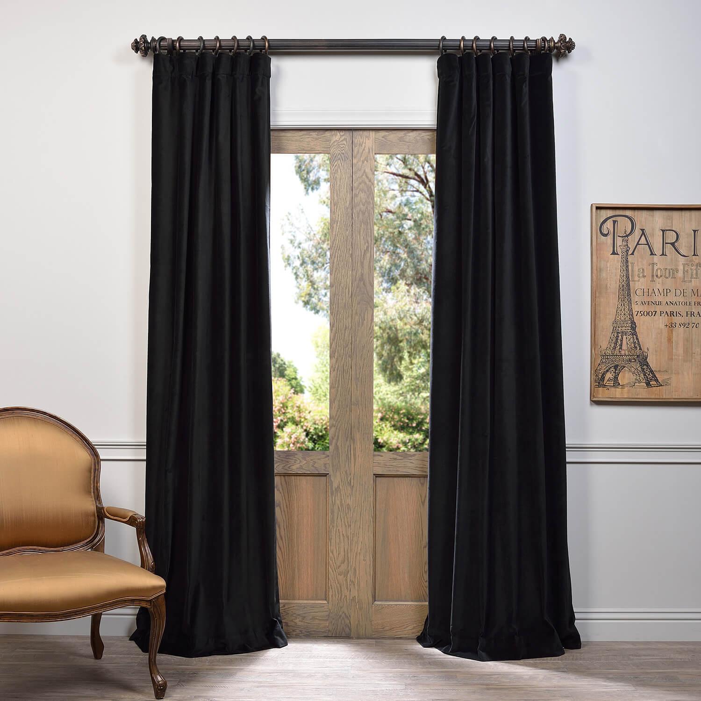 Black Vintage Cotton Velvet Curtain