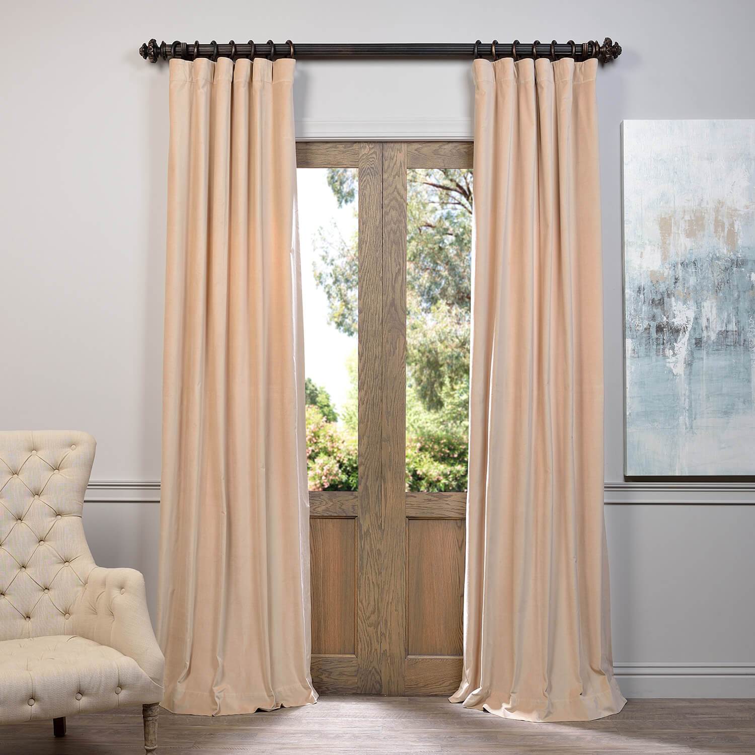 Sand Vintage Cotton Velvet Curtain