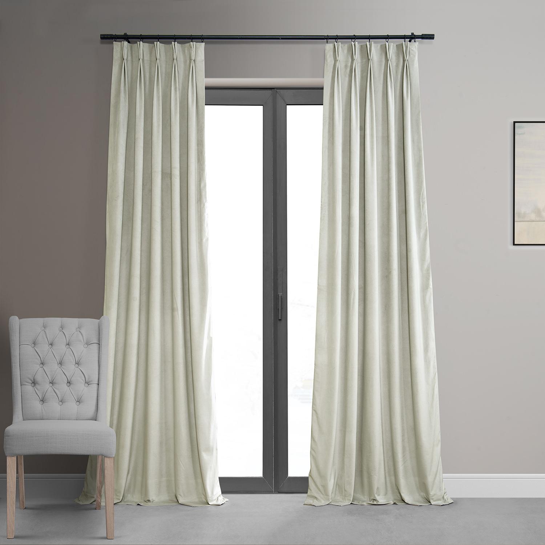 Signature Off White Pleated Blackout Velvet Curtain