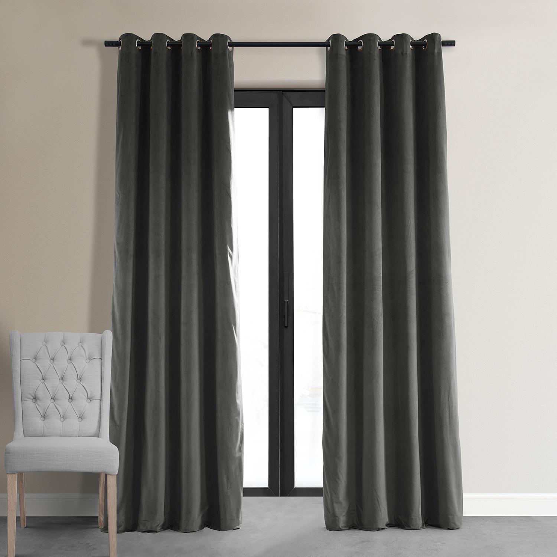 Signature Gunmetal Grey Grommet Blackout Velvet Curtain