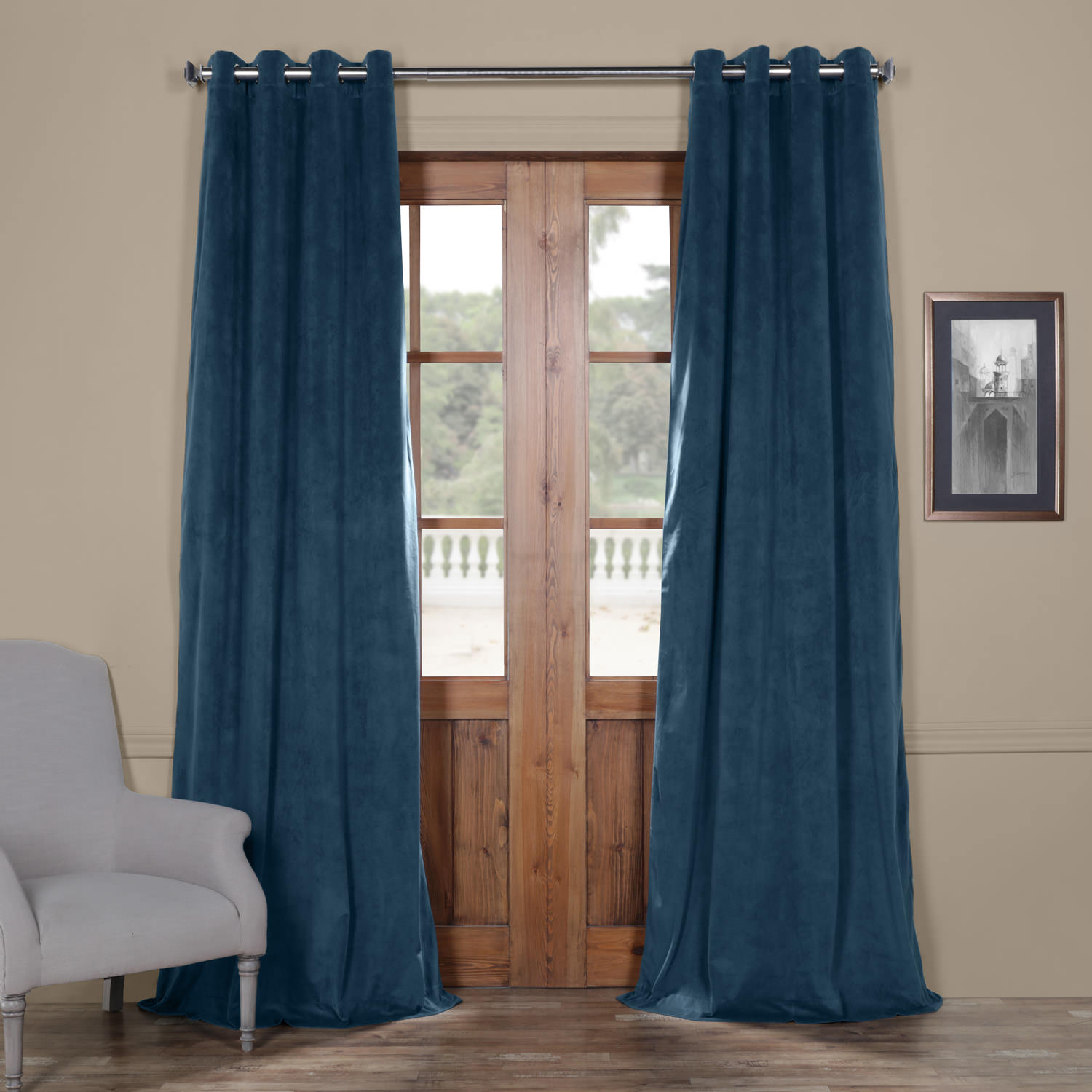 Signature Twilight Blue Grommet Blackout Velvet Curtain