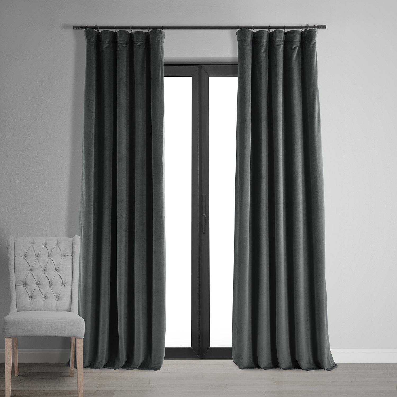 Signature Natural Grey Blackout Velvet Curtain