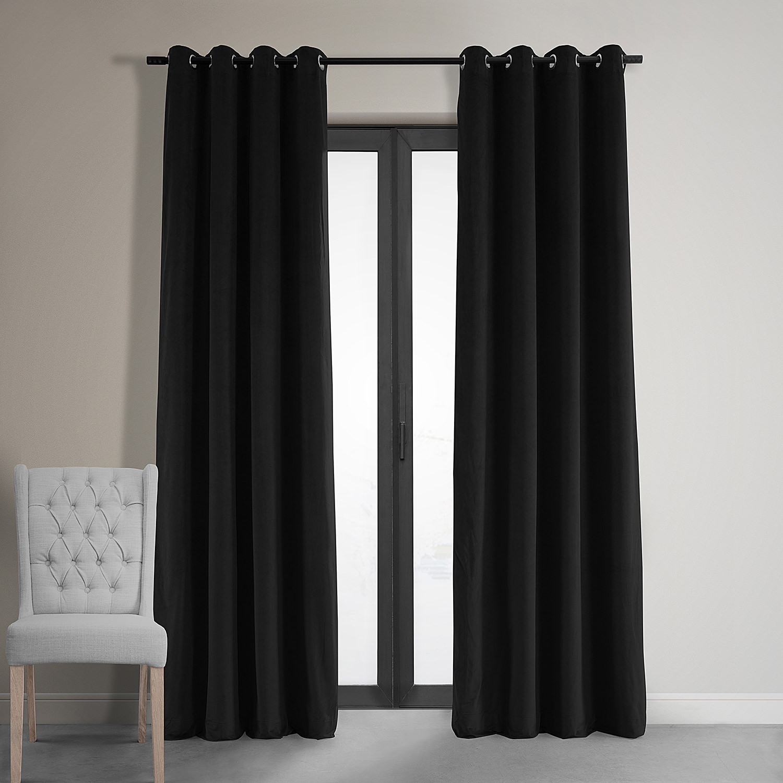 Signature Warm Black Grommet Blackout Velvet Curtain