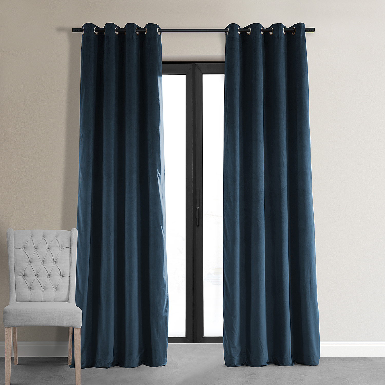 Signature Midnight Blue Grommet Blackout Velvet Curtain