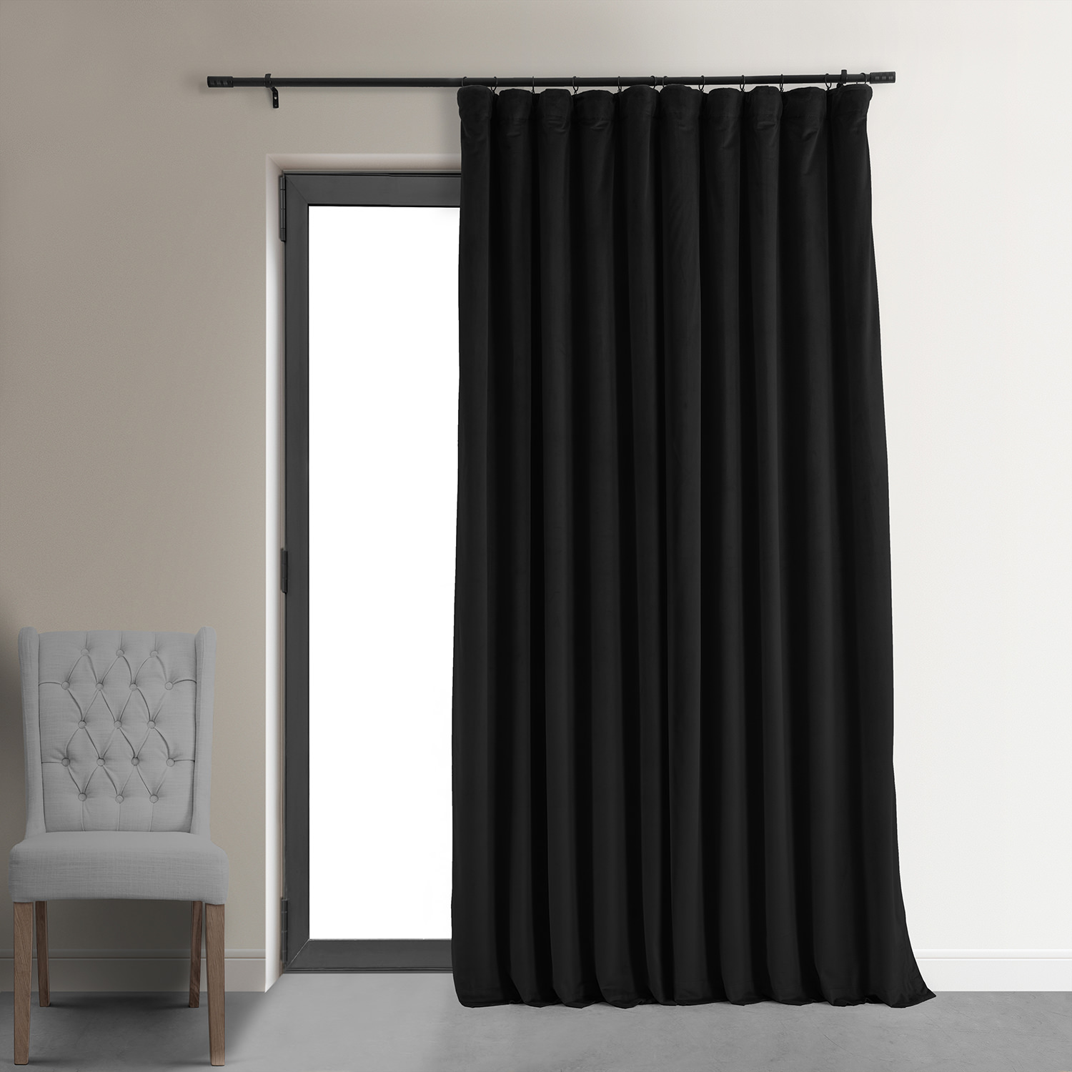 Signature Black Double Wide Velvet Blackout Pole Pocket Curtain
