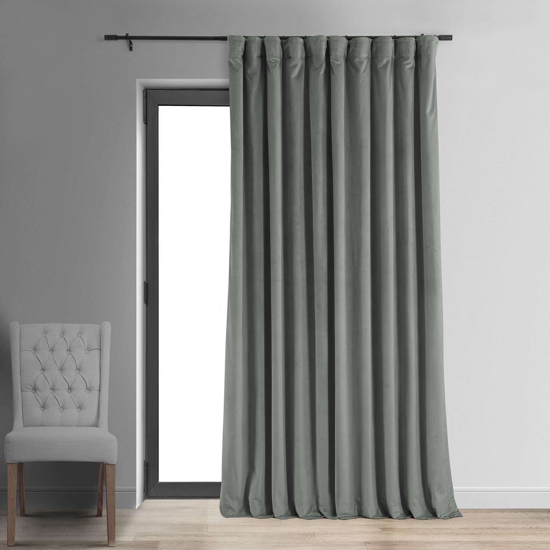 Signature Silver Grey Double Wide Velvet Blackout Pole Pocket Curtains