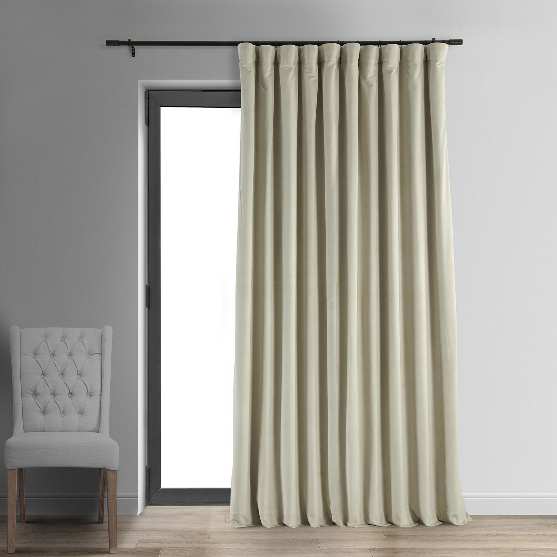 Signature Cool Beige Doublewide Blackout Velvet Curtain