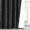 Jet Black Faux Silk Taffeta Curtain