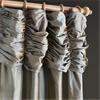 Ruched Sea Blue Thai Silk Curtain