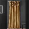 Ruched Taupe Gold Thai Silk Curtain