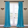 Cozumel Blue Raw Silk Curtain
