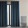 Signature Midnight Blue Grommet Blackout Velvet Curtain