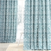 Catalina Aqua Printed Cotton Twill Curtain