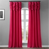 Fuchsia Rose Ruched Faux Solid Taffeta Curtain