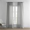 Paris Grey Solid Faux Linen Sheer Curtain