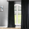 Signature Warm Black Pleated Blackout Velvet Curtain